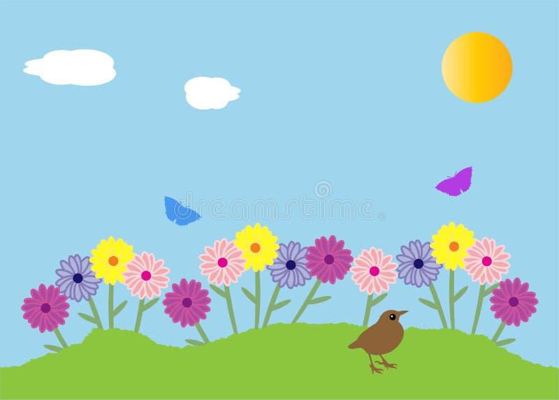 blommor arbeta i trädgården fjädern royaltyfri illustrationer