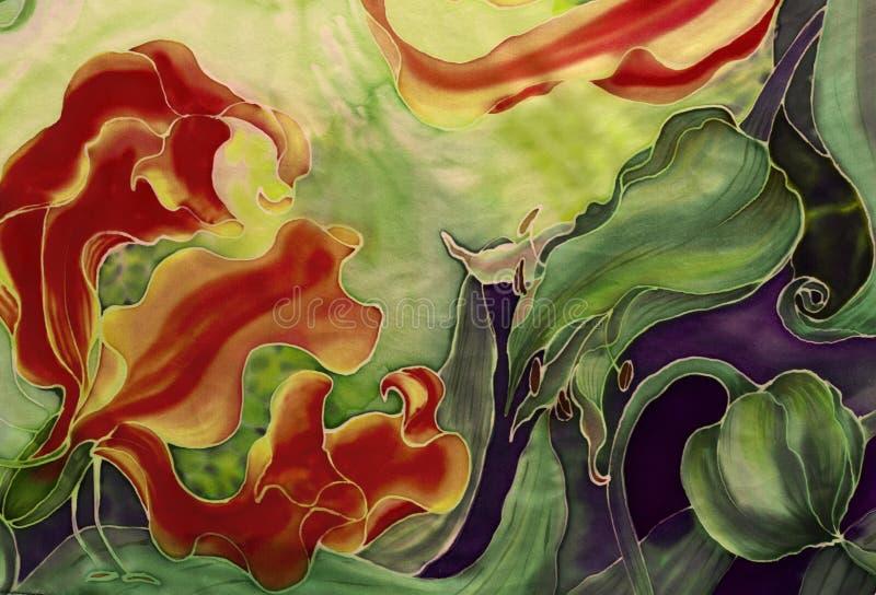Blommor av gloriosisen med sidor och knoppar - teckning på silke _ Asiat afrikansk blomma Använd utskrivavna material, tecken, ob royaltyfri illustrationer