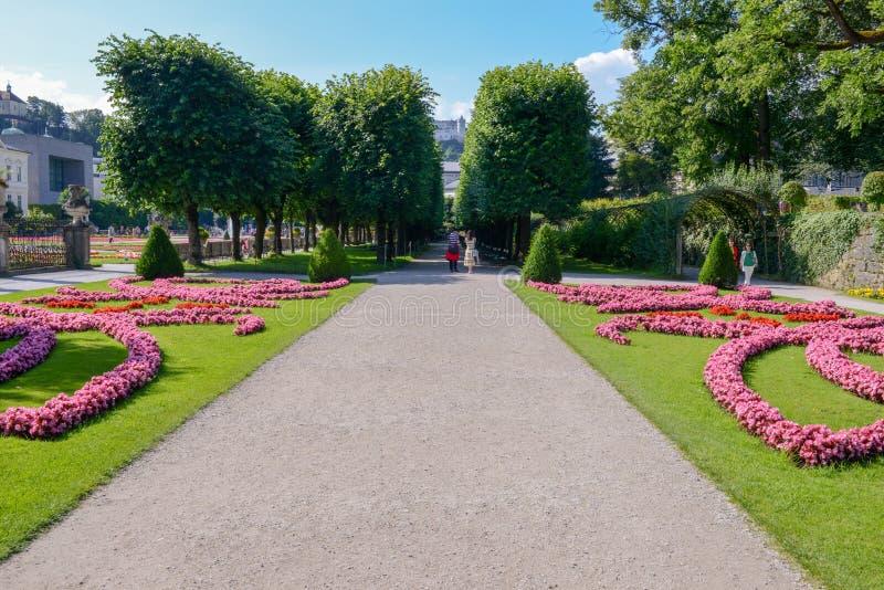 Blommor blommar på den Mirabell slottträdgården i Salzburg, Österrike fotografering för bildbyråer