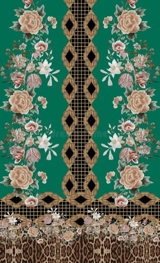 Blommor, broderier, baroque gold animal print green royaltyfri illustrationer