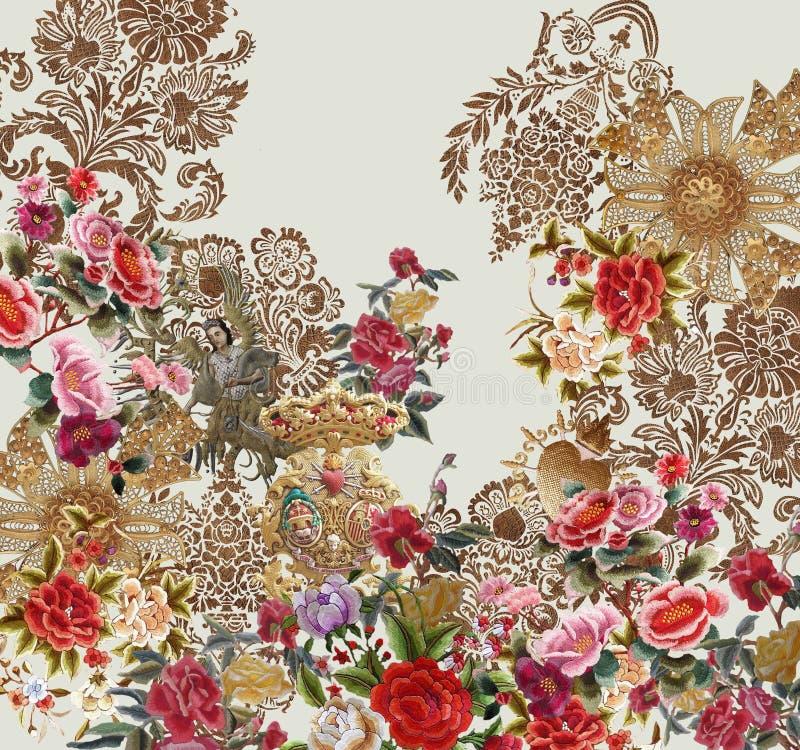 Blommor, broderier, trädgårdsänglar, baroque royaltyfri illustrationer