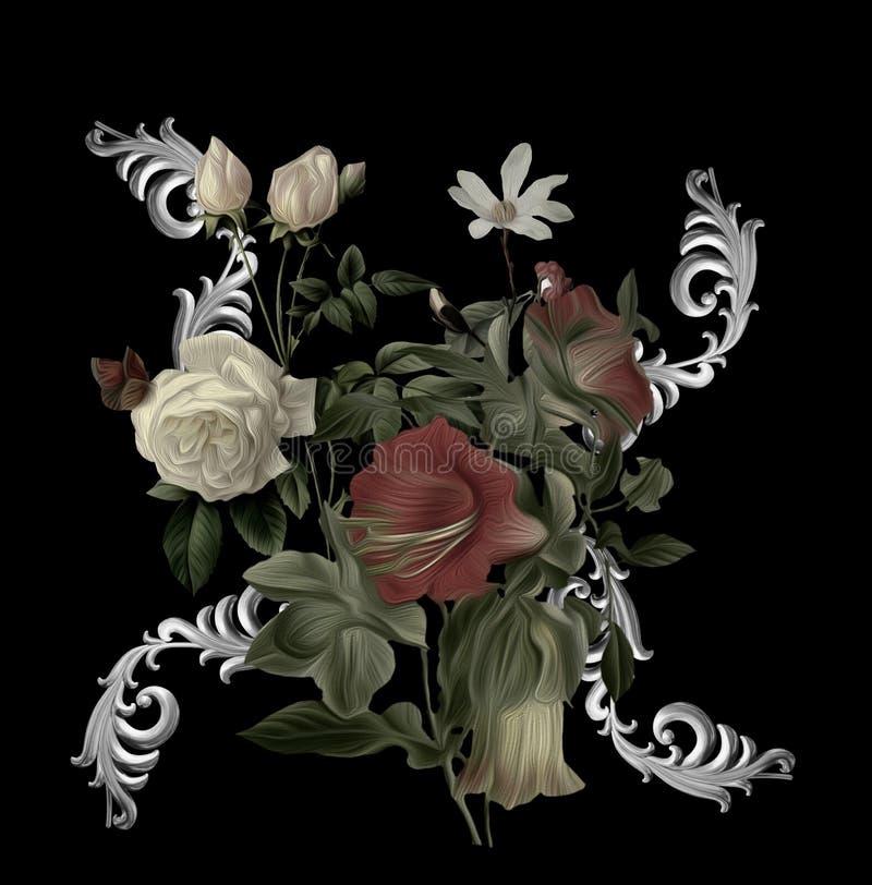 Blommor, broderier, trädgårdsänglar, baroque vektor illustrationer