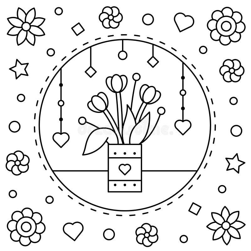 Blommor Färga sidan också vektor för coreldrawillustration stock illustrationer