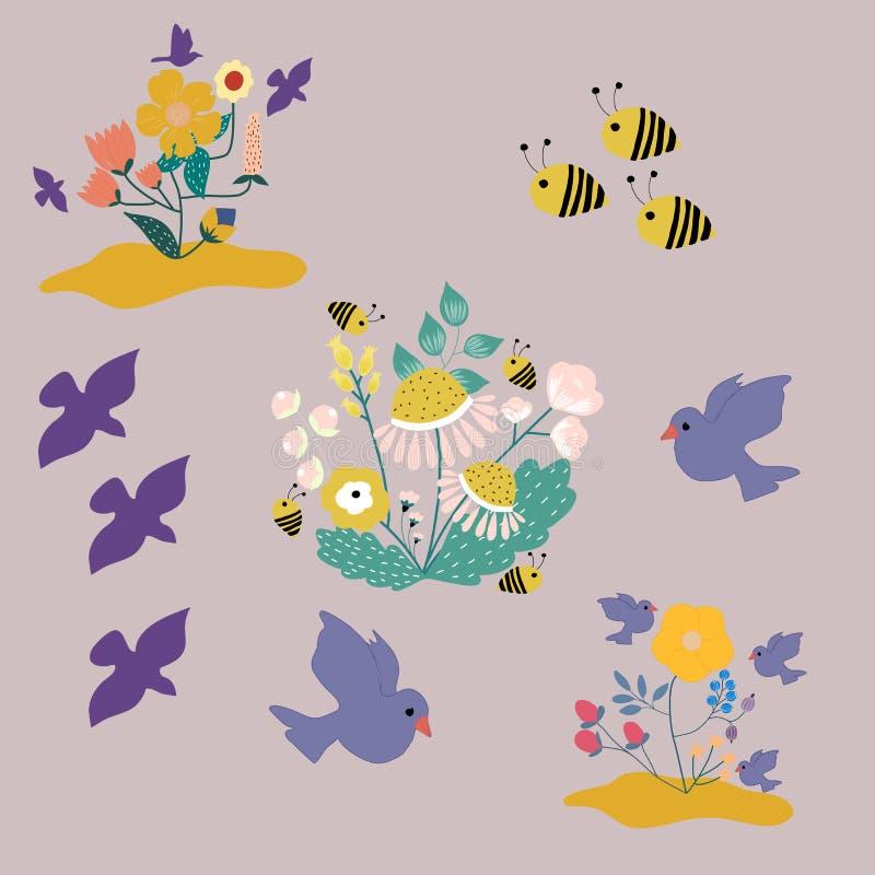 Blommor, fåglar och bin, fastställd illustration för vektor royaltyfri illustrationer