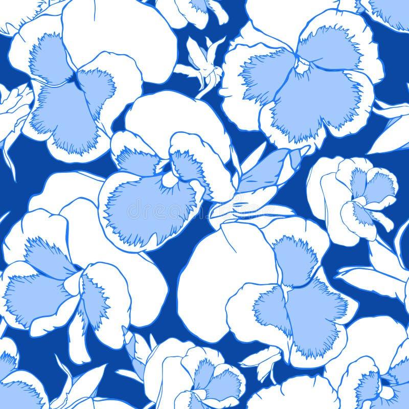 Blommor för blått för hand utdragna vita altfioloch på ett mörkt - blå bakgrund Sömlös modell för tyg, tapet och textil stock illustrationer