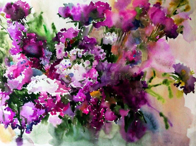 Blommor för blom- lila för bakgrund för vattenfärgkonstabstrakt begrepp blomstrar lösa fantasi för våt wash för filialtextur sudd royaltyfri illustrationer