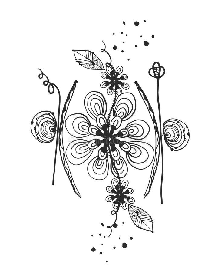 Blommor för svart för abstrakt begrepp för sommartid Tatuering Trees som växer från laken, bevattnar Abstrakt tusenskönakonturblo vektor illustrationer