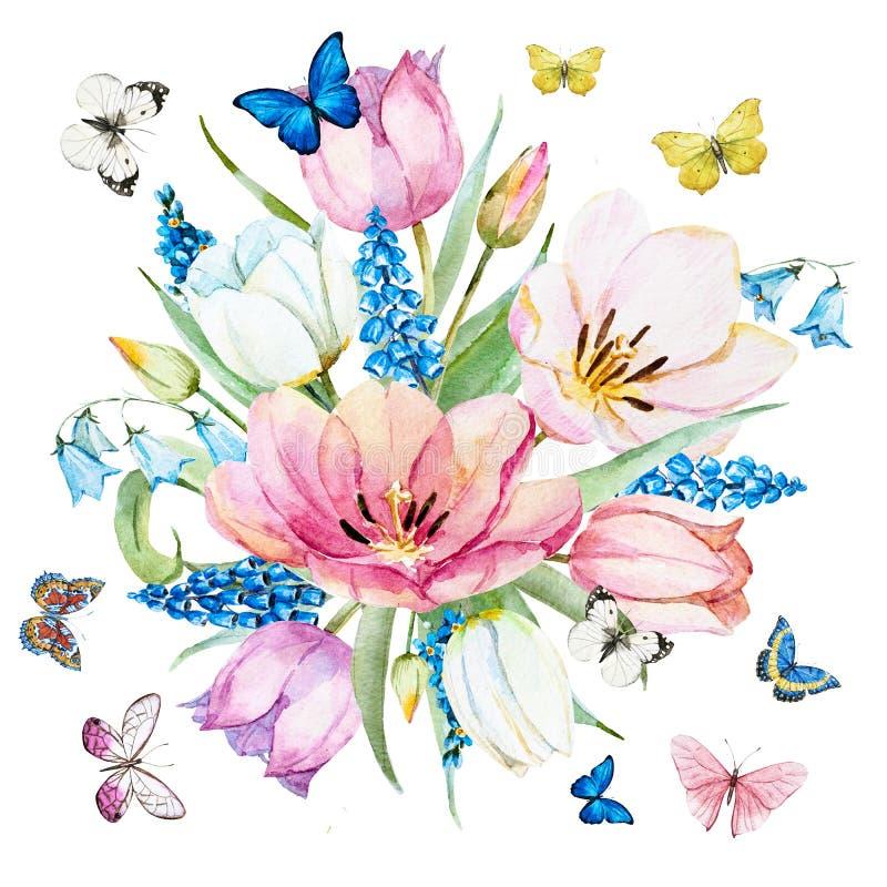 Blommor för vattenfärgrastervår vektor illustrationer