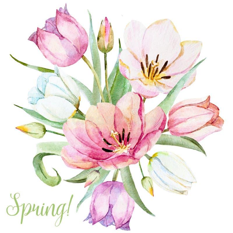 Blommor för vattenfärgrastervår stock illustrationer