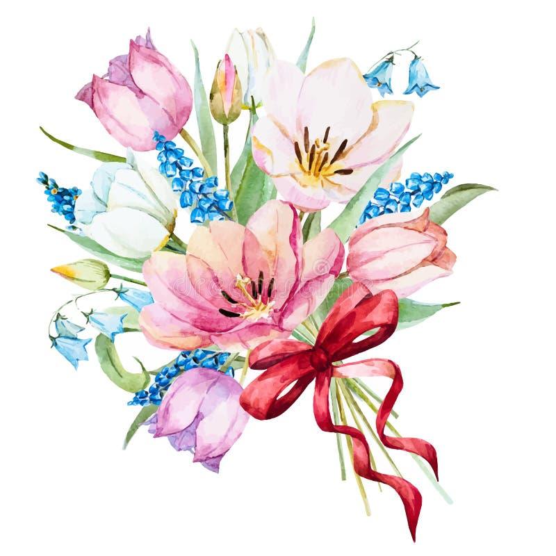 Blommor för vattenfärgvektorvår royaltyfri illustrationer