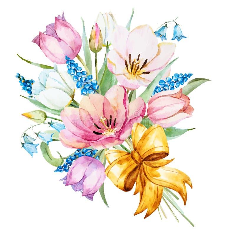 Blommor för vattenfärgvektorvår stock illustrationer