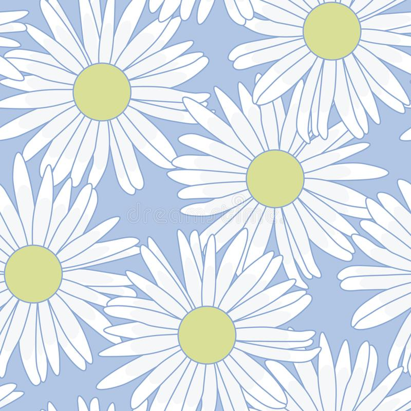 Blommor för vita tusenskönor för vektor på pastellfärgad blå sömlös repetitionmodell vektor illustrationer