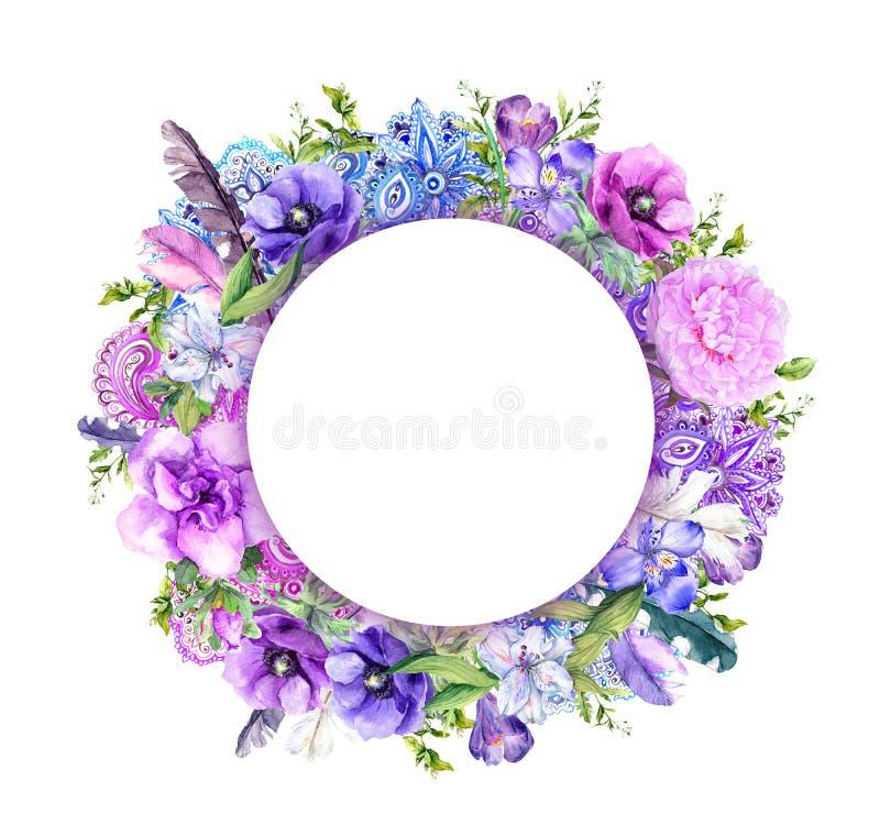 Blommor fjädrar, prydnad Blom- krans Vattenfärg i chic stil för boho royaltyfri illustrationer