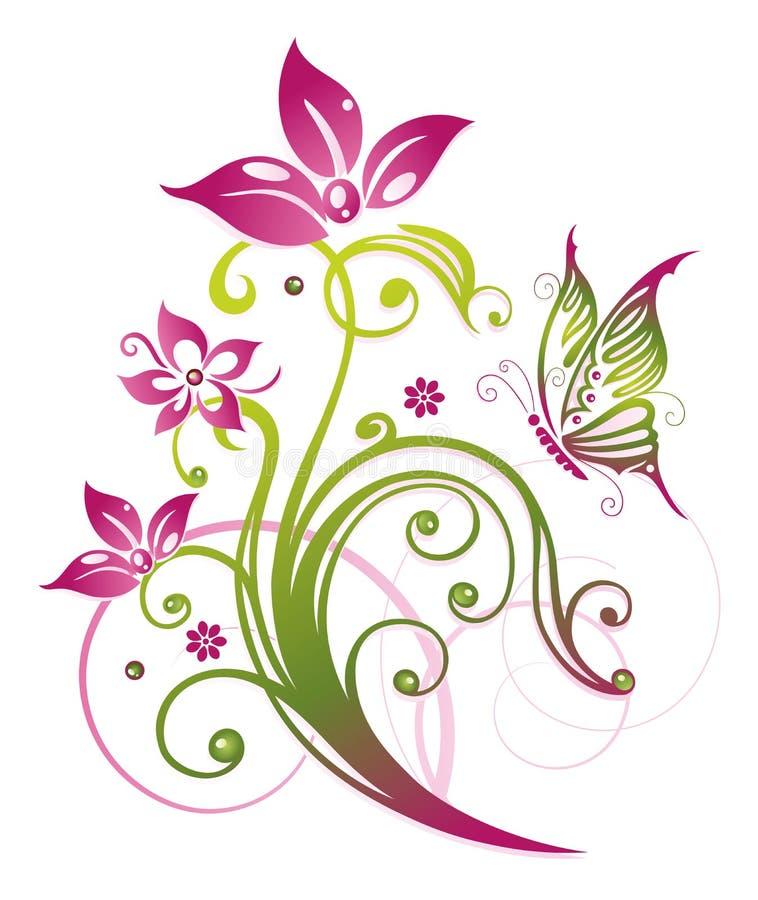 Blommor fjäril, sommar vektor illustrationer