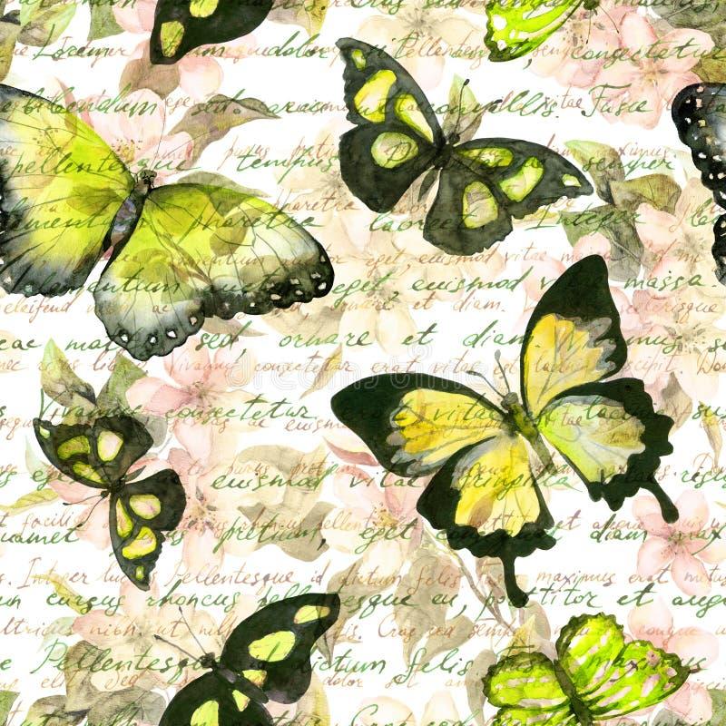 Blommor fjärilar, räcker anmärkningen för skriftlig text vattenfärg mönstrad seamless tappning royaltyfri illustrationer