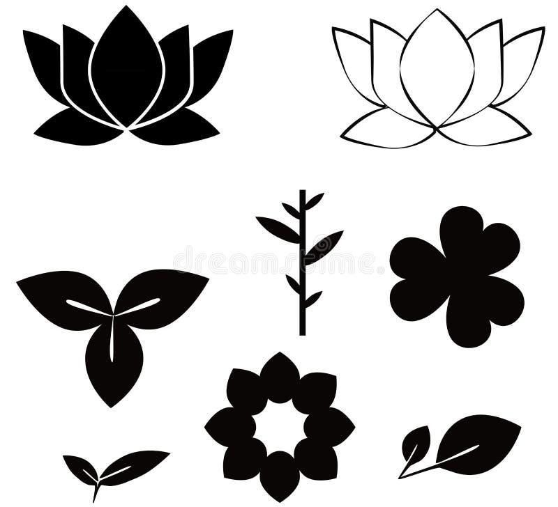 Blommor formar svarta konturuppsättningillustrationer på w vektor illustrationer