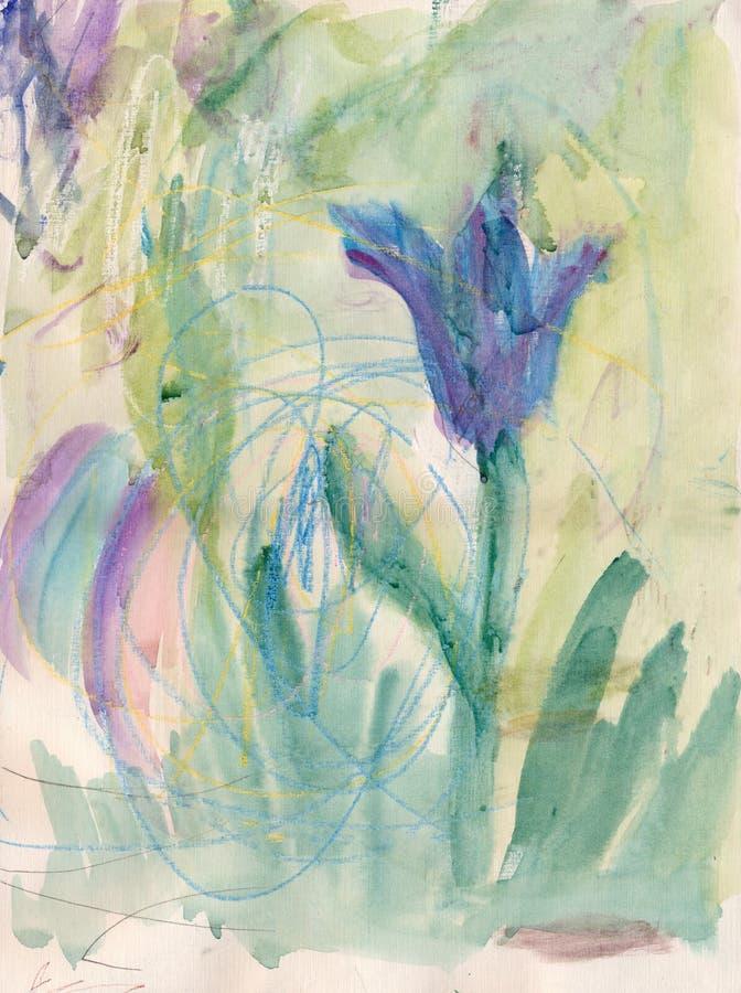 Blommor i barnmålning stock illustrationer
