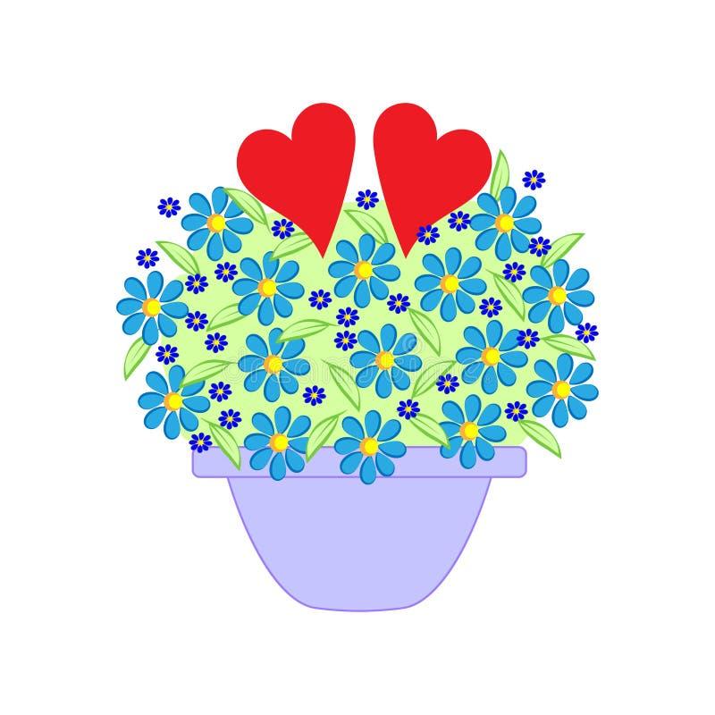 Blommor i en kruka och två hjärtor royaltyfri illustrationer