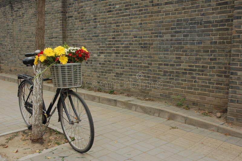 Blommor i en Pekingcykels korg royaltyfri foto