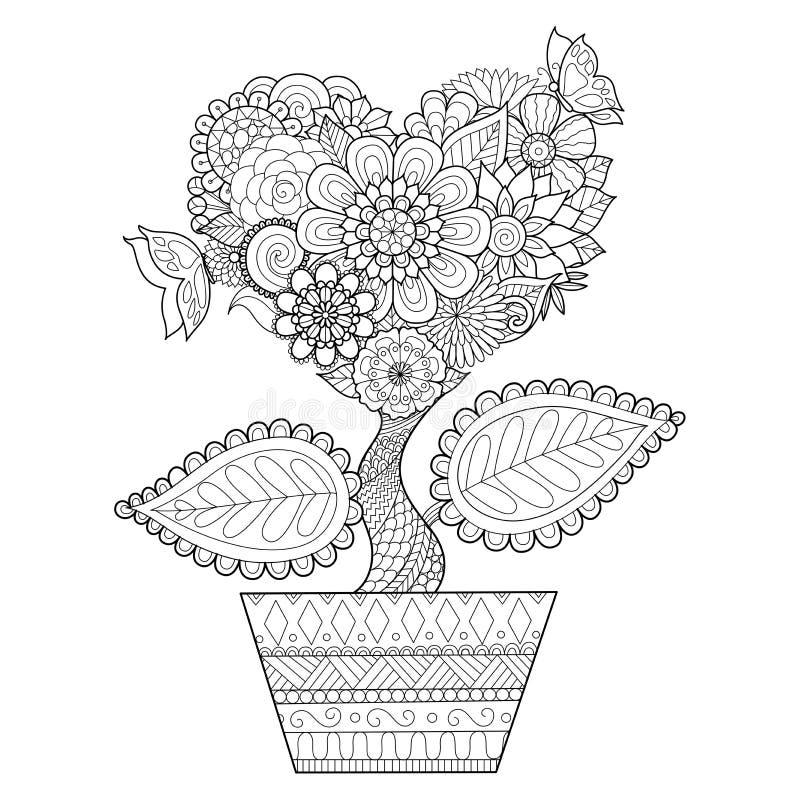 Blommor i hjärtaform på en krukalinje konst planlägger för färgläggningboken för vuxna människan, tatueringen, T-tröjadiagrammet, vektor illustrationer
