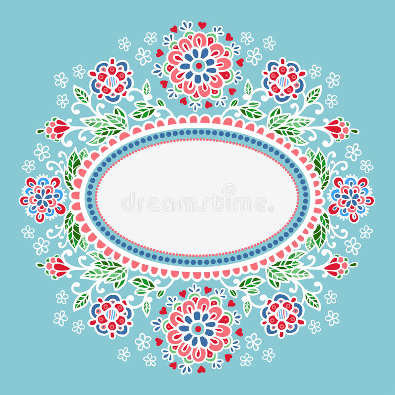 blommor inramniner oval vektor illustrationer