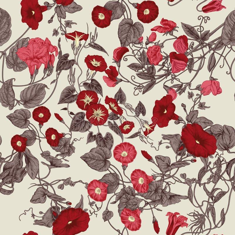 Blommor Loachesna Seamless bakgrund royaltyfri illustrationer