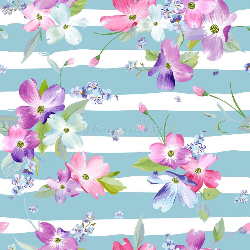 blommor mönsan den seamless fjädern Blom- bakgrund för vattenfärg för att gifta sig inbjudan, tyg, tapet, tryck royaltyfri illustrationer