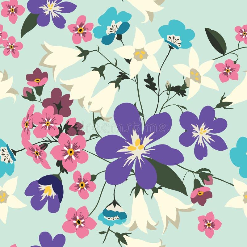 blommor mönsan den seamless vektorn stock illustrationer