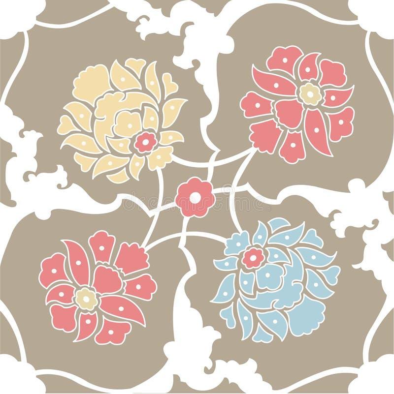 blommor mönsan den seamless wallpaperen stock illustrationer