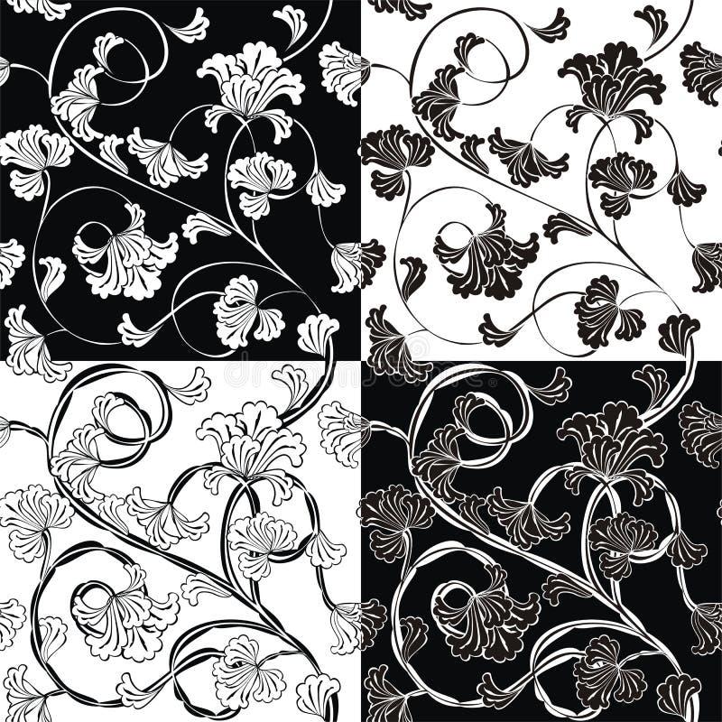 blommor mönsan seamless stock illustrationer