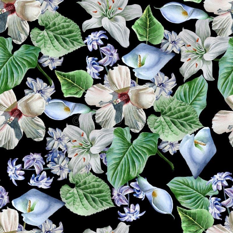 blommor mönsan seamless lilja calla hibiskus för flygillustration för näbb dekorativ bild dess paper stycksvalavattenfärg royaltyfri illustrationer