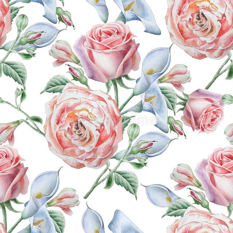 blommor mönsan seamless Steg calla för flygillustration för näbb dekorativ bild dess paper stycksvalavattenfärg vektor illustrationer
