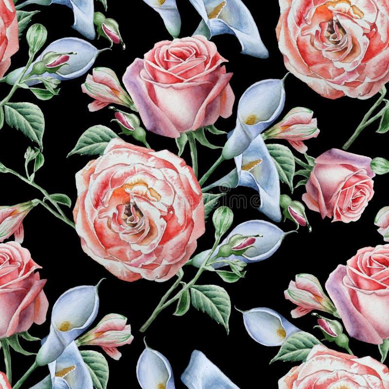 blommor mönsan seamless Steg calla för flygillustration för näbb dekorativ bild dess paper stycksvalavattenfärg stock illustrationer