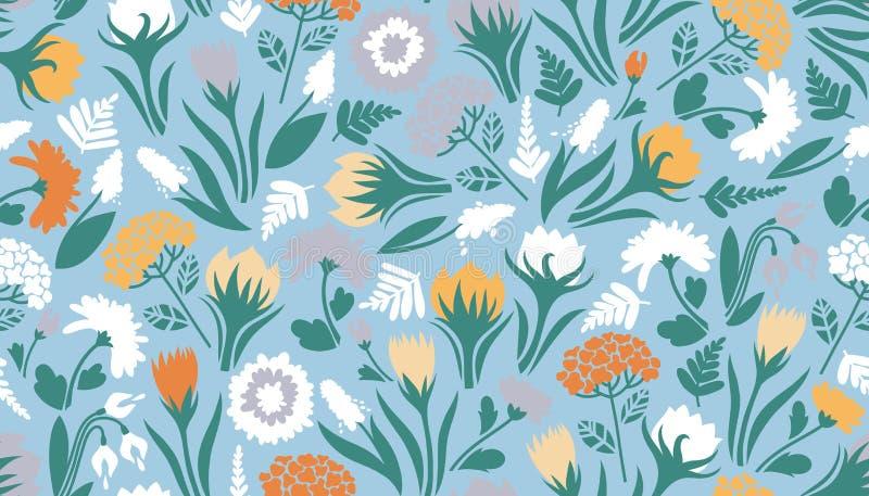 blommor m?nsan seamless Gullig textur för designen av yttersidor stock illustrationer