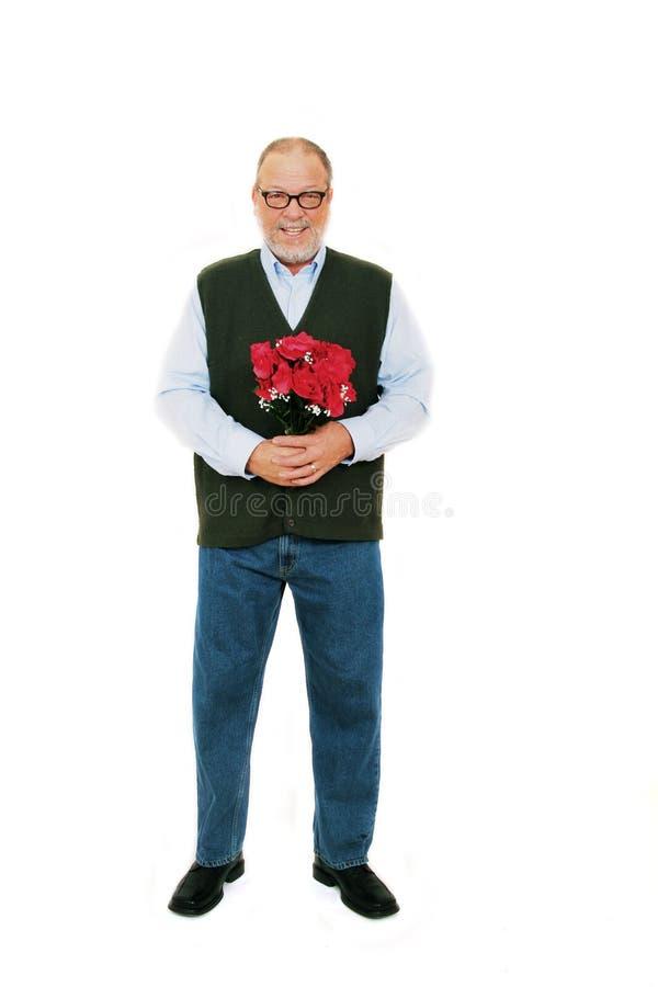 blommor man röda ro royaltyfri fotografi