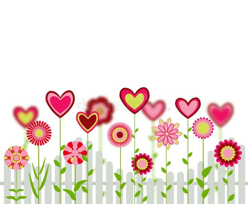 Blommor med hjärtaformer stock illustrationer
