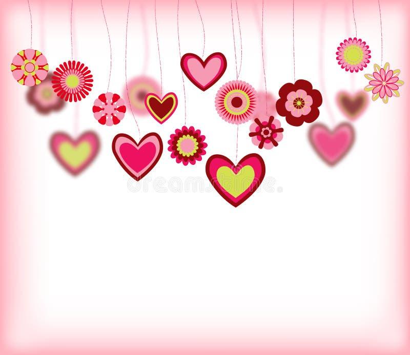 Blommor med hjärtaformer royaltyfri illustrationer