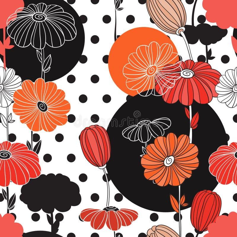 Blommor och cirklar En kombination av geometrier och klotterbeståndsdelar arkivbilder