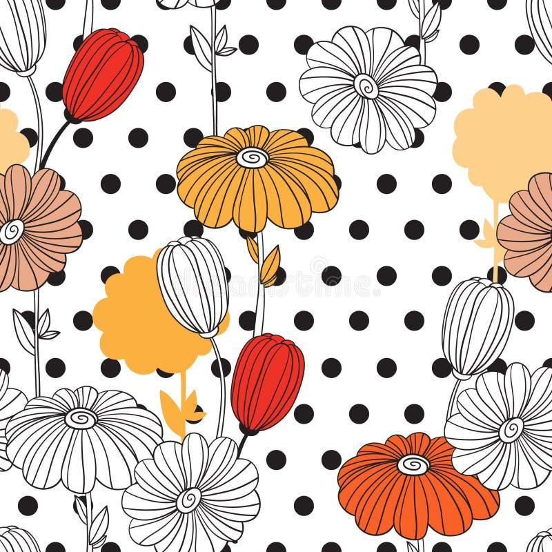 Blommor och cirklar En kombination av geometrier och klotterbeståndsdelar arkivfoto