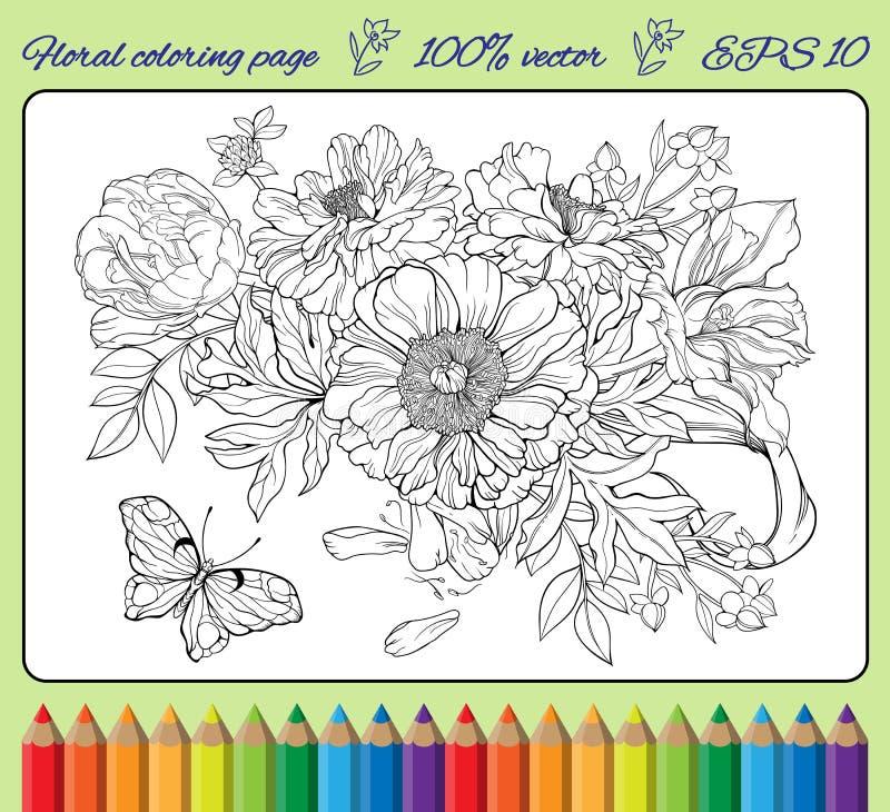 Blommor och en fjäril Färga sidan stock illustrationer