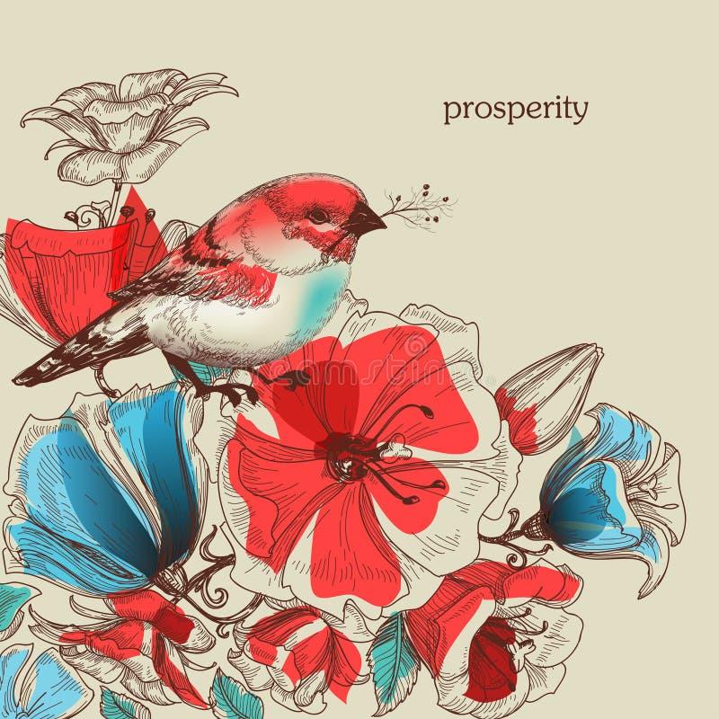 Blommor och fågelillustration royaltyfri illustrationer