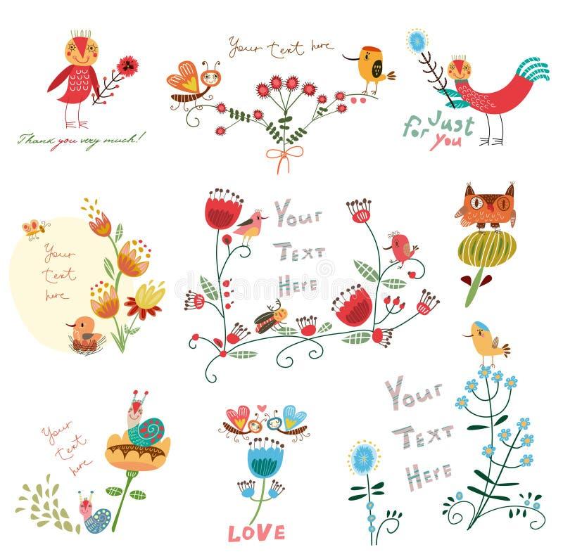 Blommor och fåglar för blomma fastställda gulliga royaltyfri illustrationer