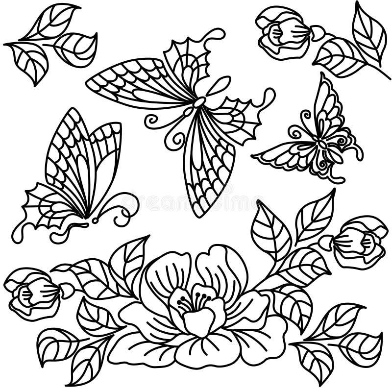 Blommor och fjäril vektor illustrationer