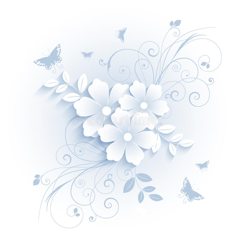 Blommor och fjärilar vektor illustrationer