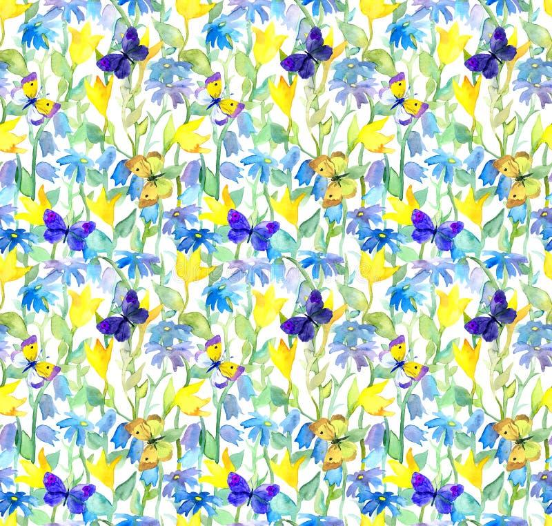 Blommor och fjärilar Blom- sömlös modell för vattenfärg akvarell arkivbild