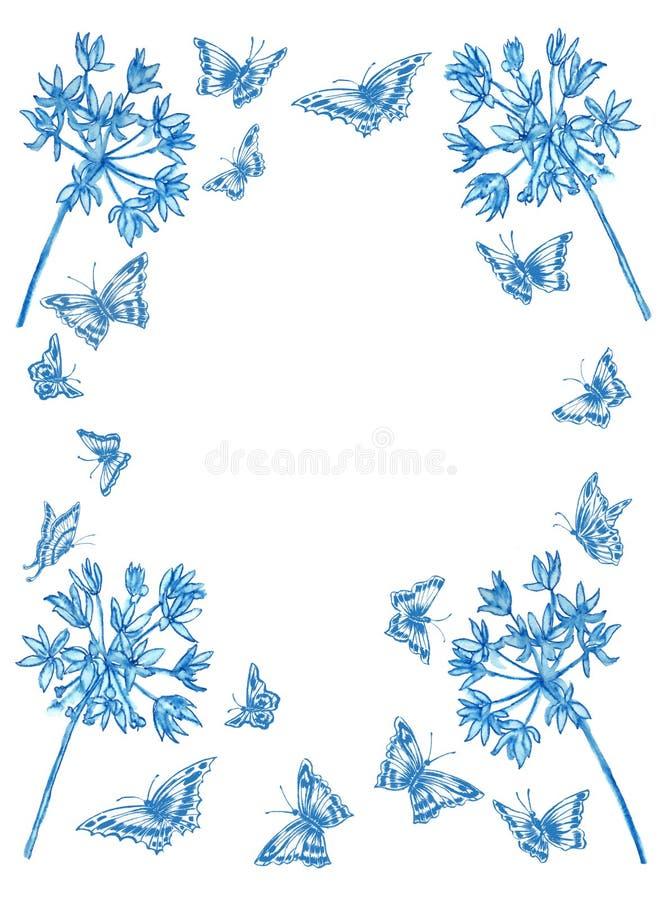 Blommor och fjärilar för blått för witn för hälsningkort royaltyfri foto