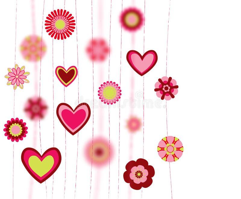 Blommor och hjärtaformbakgrund vektor illustrationer
