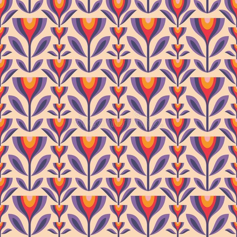 Blommor och l?mnar bakgrund för Mitt--århundrade modern konstvektor seamless abstrakt geometrisk modell Dekorativ prydnad i retro royaltyfri illustrationer