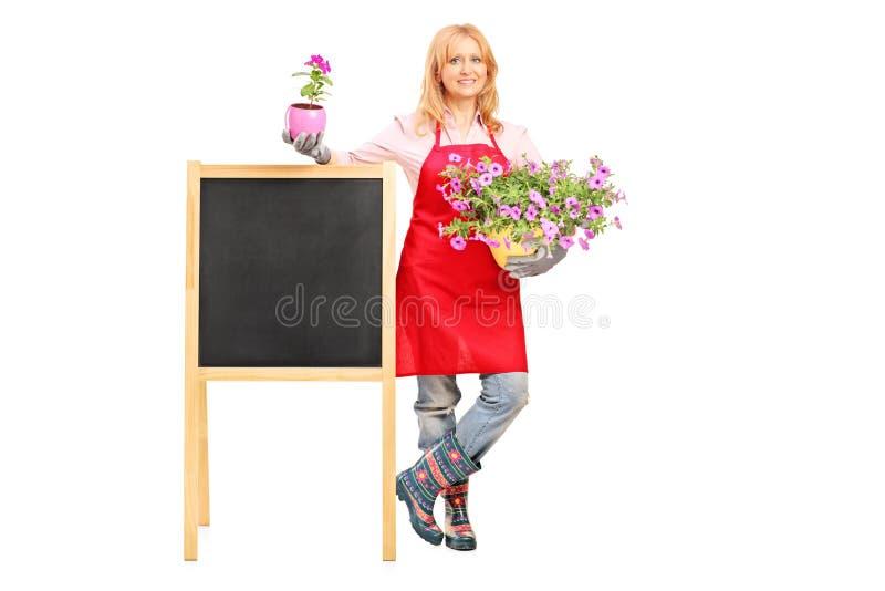Blommor och posera för kvinnligblomsterhandlareholding arkivbilder
