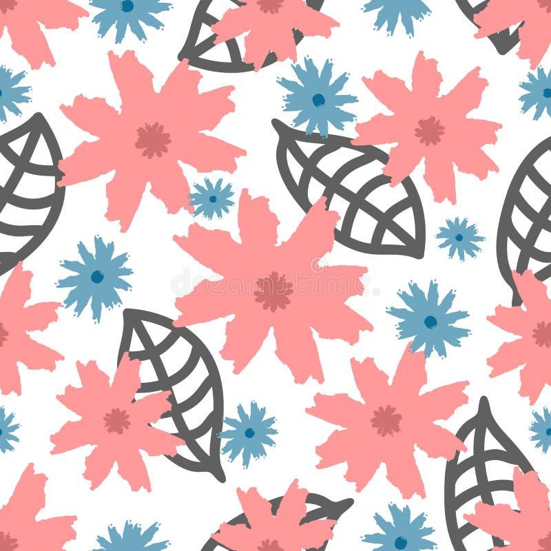 Blommor och sidor som dras av handen Moderiktig blom- sömlös modell stock illustrationer